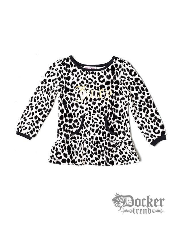 Комплект для девочки туника велюр blk/wht leo+ легинсы blk Juicy Couture 009473362