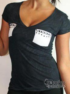 Футболка женская Rush Couture WVT017pocket_BLK